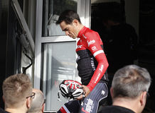 Team Trek Segafredo med Alberto Contador, innan utbildning Royaltyfria Bilder
