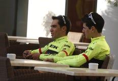 Team Trek Segafredo mit Alberto Contador vor der Ausbildung Lizenzfreie Stockfotos