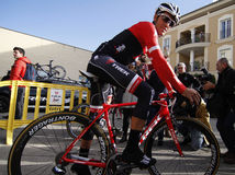 Team Trek Segafredo mit Alberto Contador vor der Ausbildung Stockfotos