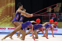 Team Turkey Rhythmic Gymnastics royalty free stock photos