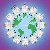 A team of twelve months. A friendly team of twelve months. Calendar for the year 2019. Vector format royalty free illustration