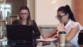 A team of two business girls working on a business project in the office. Team of two young beautiful business girls wearing glasses working on a business stock footage