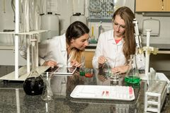 Team of two female laboratory technicians working in chemical or pharmaceutical laboratory. Team of two, Caucasian white, female laboratory technicians in white royalty free stock images