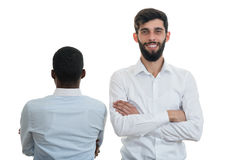 Team of two diverse business people isolated over white Stock Image
