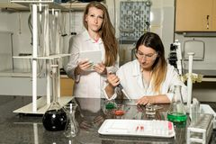 Team of two female laboratory technicians working in chemical or pharmaceutical laboratory. Team of two, Caucasian white, female laboratory technicians in white royalty free stock photo