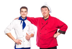 Team of two men, chefs, cooks Stock Photo