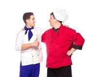 Team of two men, chefs, cooks Stock Image
