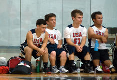 Team U.S.A. Bench, at the World Dwarf Games 2017 Stock Image