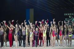 Team of Ukraine at Rhythmic Gymnastics International Cup in Kyiv royalty free stock photo