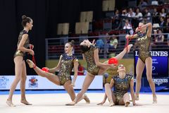 Team Ukraine Rhythmic Gymnastics royalty free stock photos