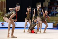 Team Ukraine Rhythmic Gymnastics royalty free stock image
