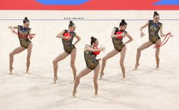 Team Ukraine Rhythmic Gymnastics stock photography