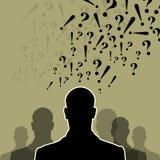 Team und Führer mit Fragezeichen Stockfoto