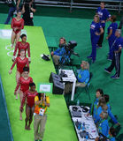 Team United States during an artistic gymnastics training session for Rio 2016 Olympics at the Rio Olympic Arena Royalty Free Stock Photos