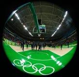 Team United States bereitet sich für Basketballspiel der Gruppe A zwischen Team USA und Australien des Rios 2016 Olympische Spiel Lizenzfreies Stockbild