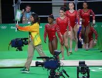 Team United States durante una sesión de formación artística de la gimnasia para Río 2016 Olimpiadas en Rio Olympic Arena Fotografía de archivo