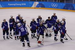 Team United States after match against Team Slovenia in men`s ice hockey preliminary round game at 2018 Winter Olympic Games. KWANDONG, SOUTH KOREA - FEBRUARY 14 Stock Photos
