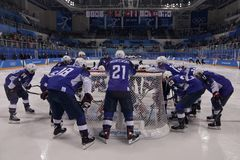 Team United States before match against Team Slovenia in men`s ice hockey preliminary round game at 2018 Winter Olympic Games. KWANDONG, SOUTH KOREA - FEBRUARY Royalty Free Stock Photo