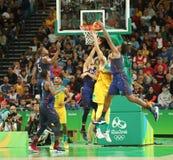 Team United States na ação durante a harmonia de basquetebol do grupo A entre a equipe EUA e Austrália do Rio 2016 Jogos Olímpico Fotografia de Stock
