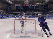 Team United States during warm up before the men`s ice hockey preliminary round game against Team Slovenia at 2018 Winter Olympics Stock Photography