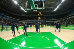 Team United States warms up for group A basketball match between Team USA and Australia of the Rio 2016 Olympic Games Stock Images