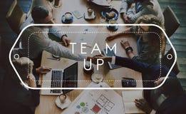 Team Up Support Strategy United Alliance begrepp fotografering för bildbyråer