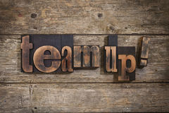 Team up written with letterpress type Royalty Free Stock Photos