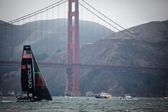 Team USA by Golden Gate Bridge Americas cup Royalty Free Stock Photos