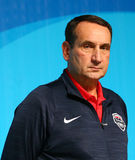Team USA head coach Mike Krzyzewski during men`s basketball team USA press conference at Rio 2016 Olympic Games Press Center Royalty Free Stock Photo