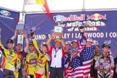 Team USA Motocross of Nations. Celebrates a win on 9-26-10 at the Redbull motocross of nations Lakewood Colorado Thunder Valley Stock Photos