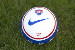 Team USA official soccer ball on grass Stock Image
