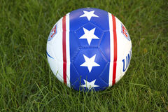 Team USA official soccer ball on grass Stock Photos