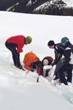 Team van alpiene redders die in sneeuw graven stock foto