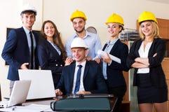 Team van architecturale ingenieurs stock afbeelding