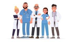 Team van artsen Een groep het ziekenhuisarbeiders Medisch personeel Vec vector illustratie
