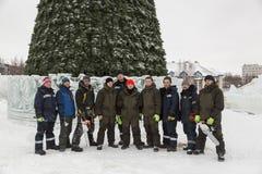 Team van bouwers van assembleurs van de ijsstad stock foto