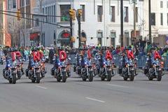 Team van de Boor van de Motorfiets van de Politie van Indianapolis het Metropolitaanse bij St Patrick de Parade van de dag Royalty-vrije Stock Fotografie