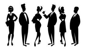 Team van drie mannen en drie die vrouwen in zaken op wit worden geïsoleerd stock illustratie