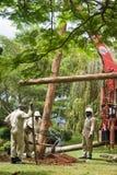 Team van elektricienlijnwachter Stock Afbeeldingen