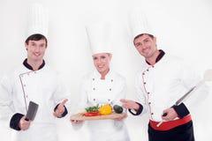 Team van gelukkige chef-koks Stock Afbeeldingen