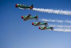 Team van Harvard Aerobatic van de Leeuwen van Castrol het Vliegende Stock Afbeeldingen
