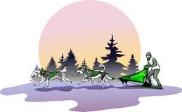 Team van honden tegen een landschap royalty-vrije illustratie