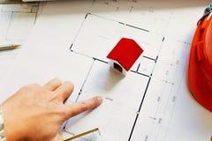 Team van ingenieurs die in een architectenbureau werken Stock Fotografie