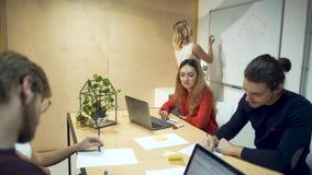 Team van jonge succesvolle ondernemers die bij bestuurskamerlijst samenkomen die financieel verslag bespreken Het meisje schrijft stock videobeelden