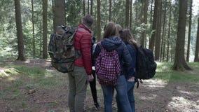Team van jonge wandelaars met die rugzak die tijdens de reis in hout wordt verloren worden die richting zoeken die de route contr stock video