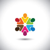Team van kleurrijke mensen als cirkel Stock Afbeeldingen