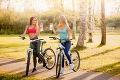 Team van meisjesfiets met fles water in park op zonsondergangachtergrond stock fotografie