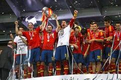 Team van Spanje, de Winnaar van de EURO 2012 Toernooien van UEFA Stock Afbeeldingen