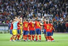 Team van Spanje, de Winnaar van de EURO 2012 Toernooien van UEFA Stock Fotografie