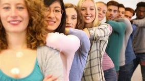 Team van studenten op universiteit Stock Afbeeldingen